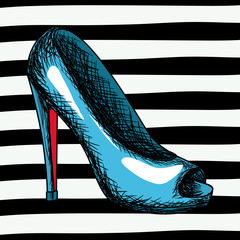 blue heel shoe sketch in pop art on black striped background