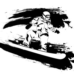 Winter sport. Snowboarder. Vector isolate. Black and white sample. Page for coloring book.