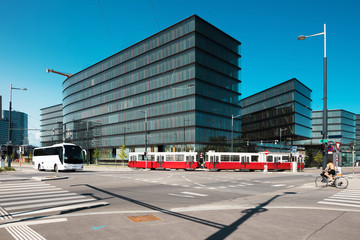 Modern architecture and tram, Wien