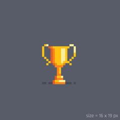 Pixel golden winner cup.Vector illustration.