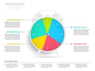 Alarm clock 5 step business process pie chart infographics. Creative corporate workflow circle graph elements. Company flowchart diagram presentation slide template. Vector info graphic design.