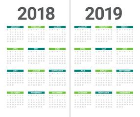 Year 2018 2019 calendar vector