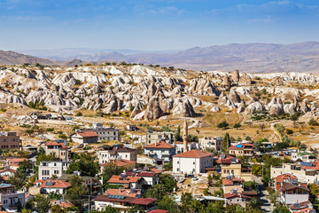 Distant view of the town of Goreme in Cappadocia, Turkey