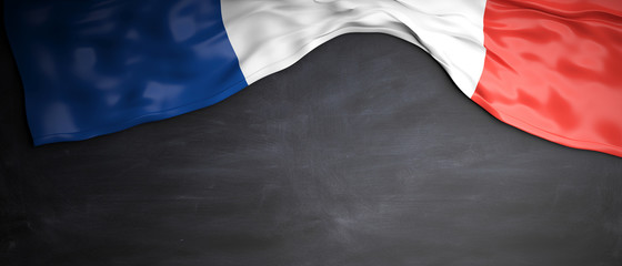 France flag placed on blackboard background with copyspace. 3d illustration