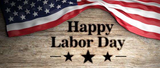 United States flag with happy labor day message placed on wooden background. 3d illustration