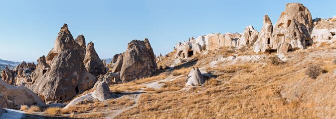 wonderful panoramic landscape view of Cappadocia in Turkey, famous tourist destination. Unusual rock volcanic tuff formation