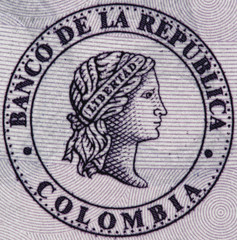 Colombia central bank (Banco de la Republica) seal on 50000 peso (2016) banknote closeup macro, Colombian money close up.