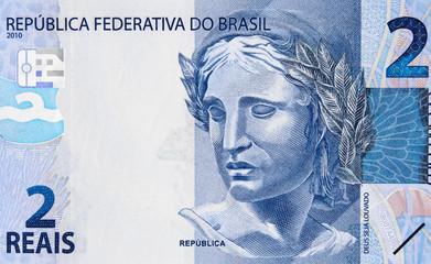 Republic's Effigy on Brazil 2 real (2016) currency banknote closeup macro, Brazilian money close up