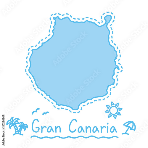 Gran Canaria island map isolated cartography concept canary islands on