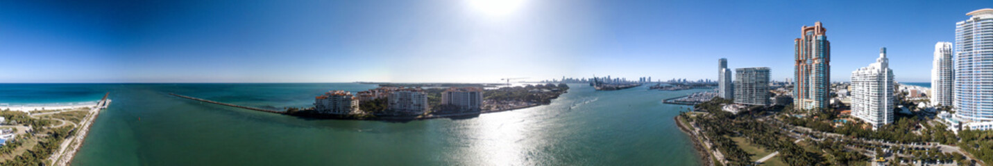 South Pointe Park in Miami. Panoramic aerial view of city skyline at dusk