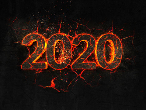 2020 Fire text flame burning hot lava explosion background.