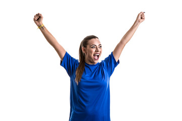 Fan / Sport Player on blue uniform celebrating on white background