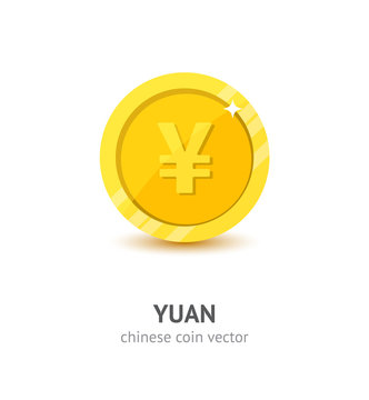 Gold Chinese yuan coin flat style