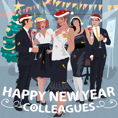 Fashionable employees in decorated office congratulate colleagues with Happy New Year. Lettering Happy New Year Colleagues. Simplistic realistic cartoon art style