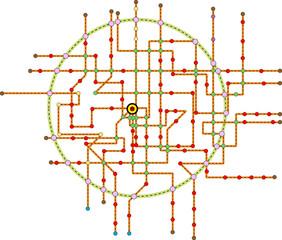 Fictional subway map, public transport map, free copy space