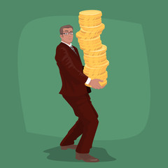 Happy businessman or manager in business suit carries big stack of gold coins money. Success in business or Wealth concept. Simplistic realistic comic art style