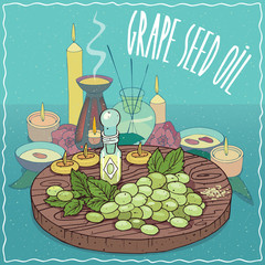 Glass Flacon of Grape seed oil and vine of Grape plant. Fragrances essential oil in diffuser. Natural vegetable oil used for aromatherapy