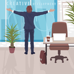 Happy employee at workplace in good office. Businessman standing near panoramic window in business center with arms outstretched. Simplified realistic cartoon style