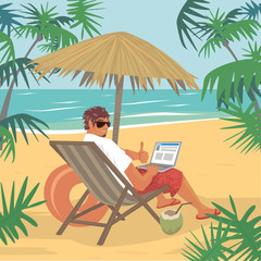 Happy young man sitting with laptop or notebook on beach near ocean, looking back and showing gesture like that. Freelance concept. Simplistic realistic comic art style