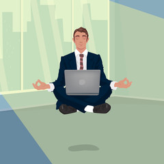 Man in business suit hovering in air, in lotus pose, in office, illuminated by sun light. Focus on work concept. Front face view. Simplistic realistic comic art style