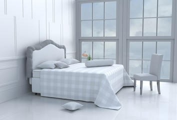 White bed room decorated with tree in glass vase, pillows, white blanket, Window, sky, Lamp,White wall it is pattern,chair, The sun shines through the window into the shadows,White floor.3d rendering.