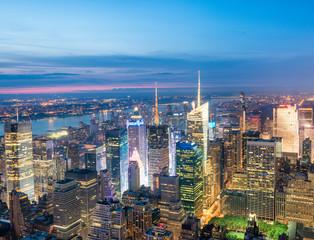 Night aerial view of Midtown skyscrapers