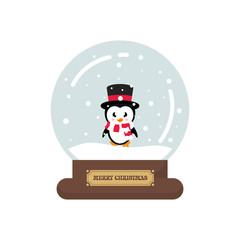 cartoon cute christmas snowglobe with cute penguin