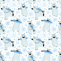 Polar bears seamless pattern with fish and snowflakes. Cute background wild antarctic and arctic animals.