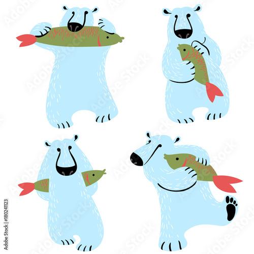 polar bears set with fish cute wild antarctic and arctic animals