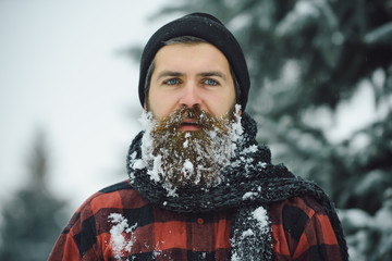 Man with beard in winter forest with snow.
