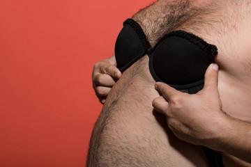 fat man in female bra