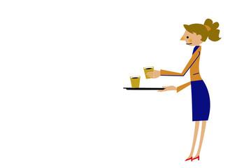 オフィス。ビジネスシーン。コーヒーを運ぶ女性