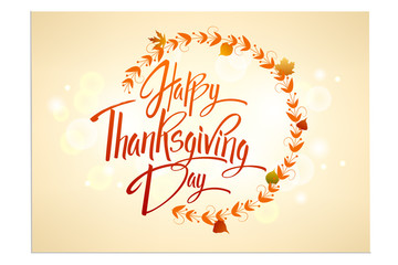 Happy Thanskgiving Day greeting card. Lettering Happy Thanskgiving Day