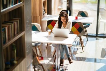 Beautiful brunette studying on laptop