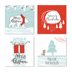 Set of 4 cute Christmas gift cards with animals and  lettering quote Merry Christmas