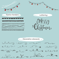 Collection of hand drawn christmas borders with lettering.