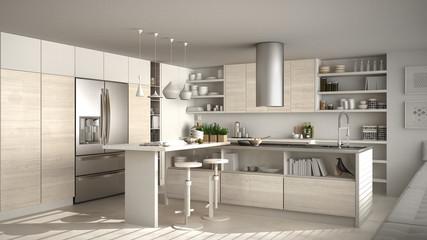Modern wooden kitchen with wooden details, white minimalistic interior design
