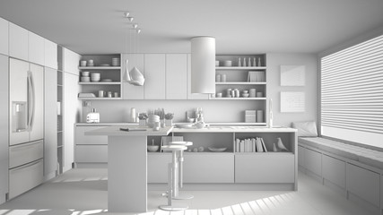 Total white project of modern wooden kitchen with wooden details, white minimalistic interior design