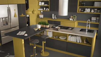 Modern wooden kitchen with wooden details, close up, island with stools, gray and yellow minimalistic interior design