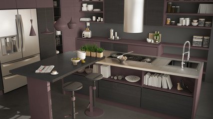 Modern wooden kitchen with wooden details, close up, island with stools, gray and red minimalistic interior design