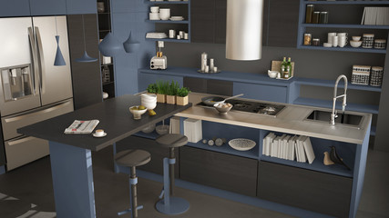 Modern wooden kitchen with wooden details, close up, island with stools, gray and blue minimalistic interior design