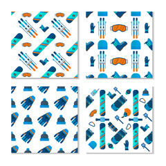 Collection of 4 winter sport  patterns.