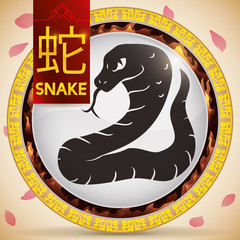 Button with Chinese Zodiac Snake and Fixed Element: Fire, Vector Illustration