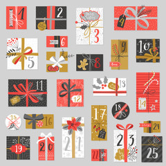 Fototapete - Christmas advent calendar, hand drawn style.