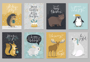 Fototapete - Christmas animals card set, hand drawn style.