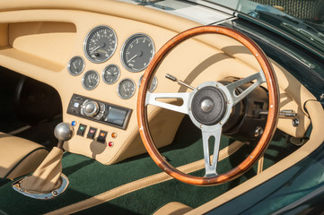 Wall Mural - luxury sports-car interior and steering wheel