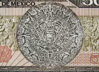 Aztec Calendar Sun Stone (Piedra del Sol) and Mayan bas-relief on Mexico 500 peso (1983) banknote, Mexican money closeup macro