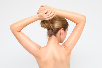 Woman is showing her back