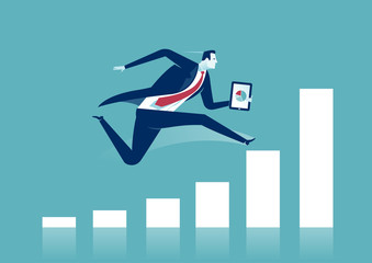 Growth. Businessman is heading for success. Vector concept illustration