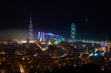 Beautiful Aerial View Of Urban Cityscape At Night. Batumi, Georgia